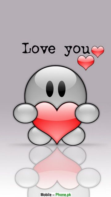 cartoon Love Wallpapers For Mobile Phones : cute babies with heart Wallpapers Mobile Pics