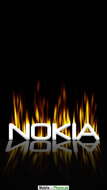 Fire Nokia Text Wallpaper for Mobile