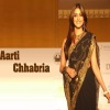 Aarti Chabria in Black Sari Bollywood 400x300